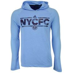 adidas Men's New York City Fc Dassler Tactical Hooded Long Sleeve... (2.540 RUB) ❤ liked on Polyvore featuring men's fashion, men's clothing, men's shirts, men's t-shirts, lightblue, mens hooded t shirt, mens t shirts, adidas mens t shirt, mens light blue t shirt and mens logo t shirts