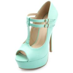 Charlotte Russe Peep Toe Double T-Strap Platform Pumps (610 MXN) ❤ liked on Polyvore featuring shoes, pumps, heels, high heels, chaussures, mint, heels stilettos, high heel shoes, stiletto heel pumps and vegan shoes