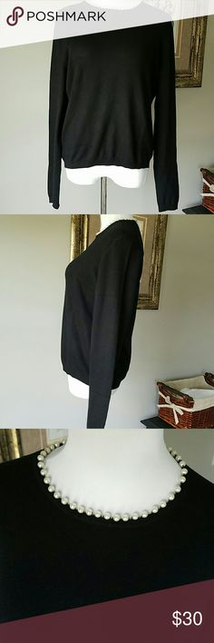 """NWT MODA INTERNATIONAL sweater size Xl NWT pearls on neckline. 73% silk 13% cashmere 12% nylon 2% spandex.  Very soft. 23"""" long 42"""" bustline 20"""" sleeves from pit out.????Bundle and save Moda International Sweaters"""