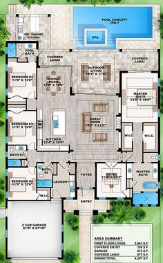 single- story, 4 split bedrooms, study, 4 bath, 2-car attached garage, covered outdoor living areas