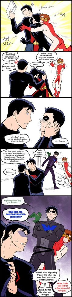 YJ trio by riyancyy777.deviantart.com on @deviantART (Overprotective Nightwing; this almost makes me want to watch the second season)