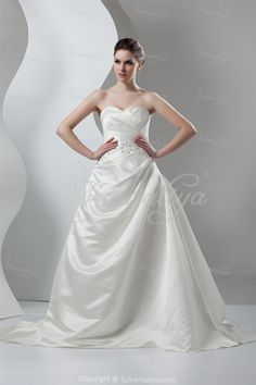 Classic Ivory Church Sweetheart Court Train A-line Satin ...
