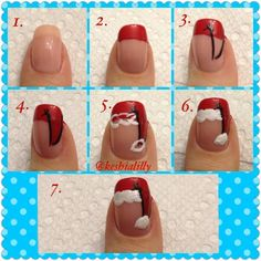Amazing Christmas Nail Art Tutorial - another way of doing the Santa hat.