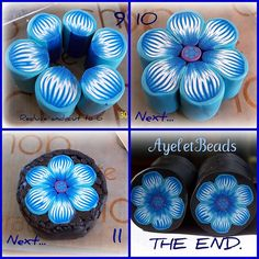 Ayelet Bead blue flower millefiori cane tutorial, starts in middle, so after you click on it, back up to the start. Easy photo tutorial.