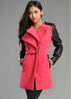 Hot Sale Red and Black Faux Leather Splicing Coat with cheap wholesale price, buy Hot Sale Red and Black Faux Leather Splicing Coat at wholesaleitonline.com !