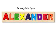 Name Board Puzzle with Bright Colorful Letters (option to choose primary colors or pastels) with a printed image of a lion riding an airplane. Teach your child how to spell their name in a fun and educational way. Give your little one the perfect educational gift. Our wooden personalized name puzzles are a wonderful learning toy to give for birthdays and holidays. Personalize each puzzle with up to 12 characters at no additional cost. Free engraving included on the back of each puzzle. -Name Pu