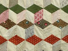 Detail, Exquisite Tumbling Blocks Quilt Top Fragment Antique Rich Orderly Tiniest Pieces | eBay, fourthcornerfinds