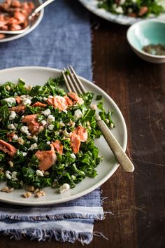 Kale salad with roasted salmon | http://jellytoastblog.com | #salmon #kale #salad Salmon Salad, Kale Salad, Roasted Salmon, Best Appetizers, Vinaigrette, Almonds, Salad Recipes, Entertaining, Soups