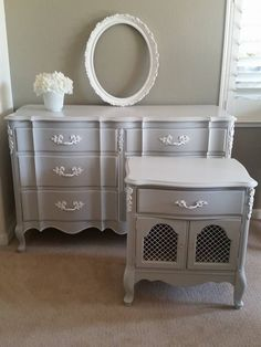 Vintage Painted grey and white French Provincial dresser and nightstand