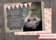 Printable Invitation-1st Birthday-Vintage Girl-First Birthday Party-Bunting Banner-Printable-DIY-Casbury Lane