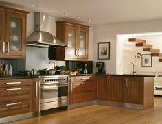 kitchen walnut cabinets light floor | Kitchens Cumbria - Contrast Kitchens
