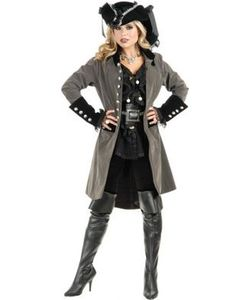 Sexy Pirate Vixen Gun Metal Grey And Black Long Velvet Costume Jacket.Wow  them all as this Brand new Fantastic quality Sexy Pirate Vixen Gun Metal  Grey And ... 1050e95b5273