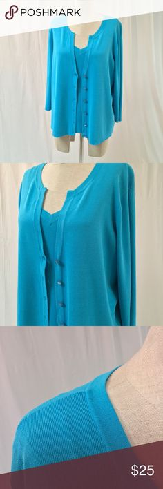 Talbots Blue Sweater Set Lovely blue matching sweater set from Talbots! Good condition except for a tiny pull on one shoulder (see pic). Super soft! Women's size 1X. Talbots Sweaters