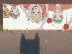 @kunihiro_1draw  三人それぞれ一生懸命猫の鳴きまねをしています。 お題「動物」 #国広三兄弟版深夜の真剣お絵描き60分一本勝負