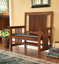 Mission-Style Bench-= would be perfect in my new foyer