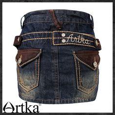 Джинсовая прямая мини-юбка с карманами