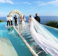 """Pool wedding - Beautiful ocean seaside wedding Aisle is glass over water of infinity pool Location Tropical island in Caribbean or pacific ocean maybe Maldives or Hawaii """"Tag your love ❤️ Photo ©Monic Seaside Wedding, Bali Wedding, Dream Wedding, Maldives Wedding, Sunset Beach Weddings, Greece Wedding, Hawaii Wedding, Wedding On The Beach, Summer Wedding"""