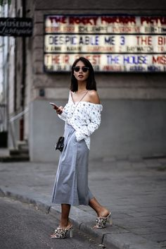 Culotte, Jeffrey Campbell Mules & Off Shoulder Bluse - thefashionanarchy