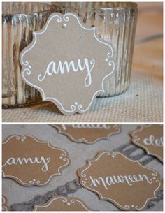 Kraft paper bracket place cards with white lettering and pearl detail - Anatol Kennea Door Name Tags, Ra Door Tags, Door Decs, Recruitment Name Tags, Sorority Recruitment, Sorority Name Tags, Reggio Emilia, Resident Assistant, Amy
