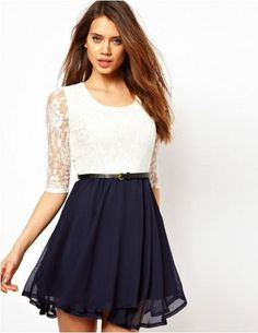 Novelty Knee-length Dress, Lace Patchwork Top