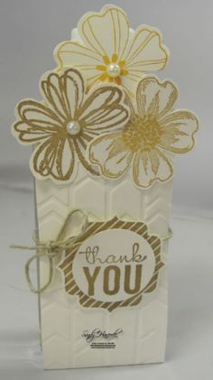 What a lovely gift holder! Tracy decorated her sanitizer holder with Flower Shop & its punch, Painted Petals, & more - all from Stampin' Up!