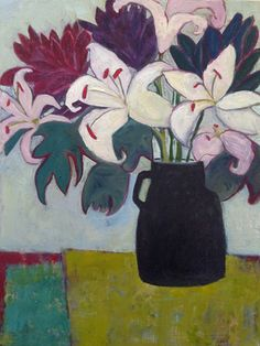 """Daily Painters Abstract Gallery: Contemporary Abstract Still Life Art Painting """"Pink Lilies"""" by Santa Fe Artist Annie O'Brien Gonzales Easy Flower Painting, Flower Art, Guache, Still Life Art, Arte Floral, Contemporary Paintings, Painting & Drawing, Art Drawings, Daily Painters"""
