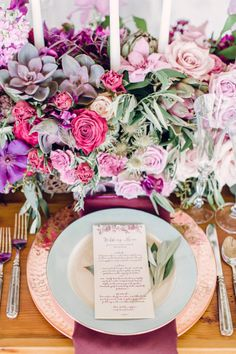 Sweetly Chic Events & Design 5 Favorite Pins of the Week Mint and Mauve Tablescape