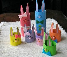 Easter - easter paper crafts - Colorful Rabbits paper baskets - from Cardboard Tubes - free tutorial #easter #rabbits