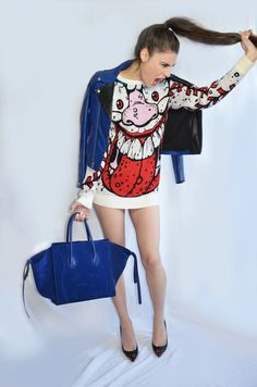 I SEE MONSTAS inspired outfit! #ootd #monsterfashion #celine #jeremyscott #blue #thekooplees #louboutin