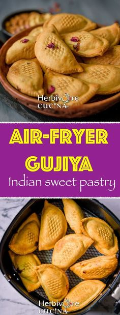 Crescent shaped pastry stuffed with a sweet mixture of nuts and coconut; Gujiya is a popular Indian sweet recipe. This easy version is made in the Air Fryer! Indian Desserts, Indian Sweets, Indian Food Recipes, Vegetarian Recipes, Air Fryer Recipes Indian, Veggie Recipes, Holi Recipes, Diwali Recipes, Delicious Desserts