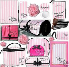 1 victoria's secret vs pink stripe ipad iphone case journey make-up brush bag roll , Victoria Secret Fashion Show, Victoria Secret Bags, Pink Love, Vs Pink, Makeup Brush Bag, Makeup Bags, Beauty Makeup Tips, Beauty Tricks, Perfume