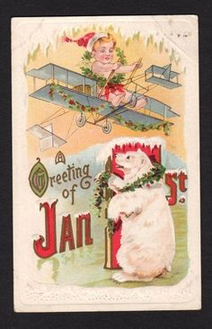 New Years Postcard Baby New Year flying biplane as white polar bear watches 1913