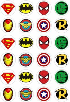 about 24 Super Hero Logo Retro Comic Book Cupcake fairy Cake Toppers Rice Wafer Paper 24 Super Hero Logo Retro Comic Book Cupcake fairy Cake Toppers Rice Wafer Paper in Crafts, Cake Decorating Avenger Party, Avenger Cake, Avengers Birthday, Superhero Birthday Party, Batman Party, Boy Birthday, Birthday Parties, Logo Super Heros, Book Cupcakes