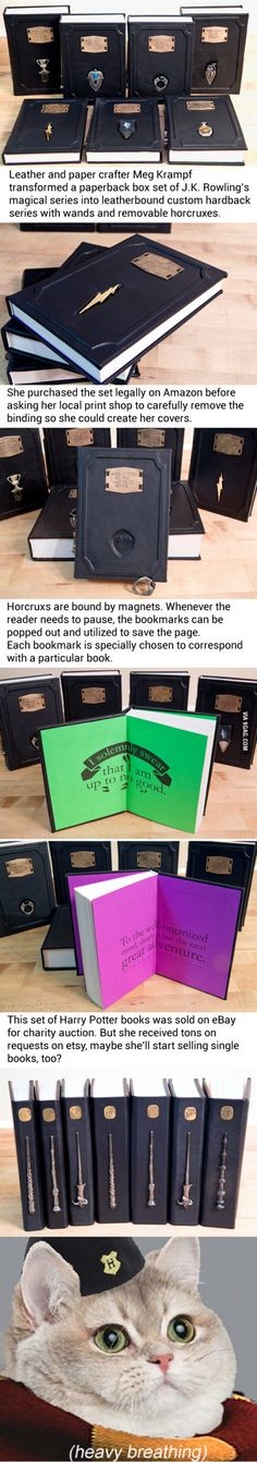 I need these in my life. Leatherbound Harry Potter book comes with horcrux bookmarks, shut up and take my sickles!