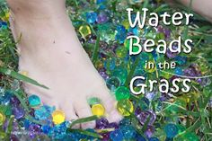 Water beads in the grass