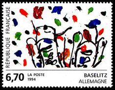 Baselitz, peintre allemand - Allemagne Art contemporain en Europe - Timbre de 1994