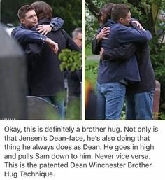 Even though Sam is taller, Dean is older. He cares for his little brother so much ❤️