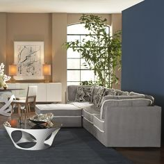 armless lounge living room with marlow tables, living room furniture, 2015 CORT Signature Collection