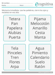 Ejercicios de memoria - Estimulación cognitiva Activities For Adults, Infant Activities, Elementary Spanish, Brain Training, Brain Breaks, Dyslexia, Teacher Resources, Counseling, Preschool