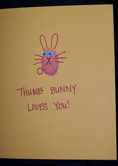 thumb bunny loves you (easter card)