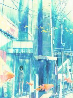 Drawing ilustration city anime art New Ideas Art Anime, Anime Artwork, Manga Art, Manga Anime, Illustrations, Illustration Art, Underwater City, Anime City, Wow Art