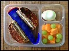 Nut-Free School Lunch Ideas 3 from 100 Days of Real Food (whole wheat banana pancake & cream cheese sandwich)