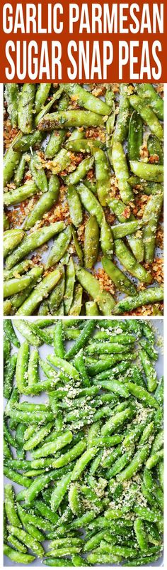 Snap peas recipe - Garlic Parmesan Sugar Snap Peas Healthy, delicious and quick to make roasted sugar snap peas tossed in a crunchy and flavorful parmesan cheese mixture Pea Recipes, Side Recipes, Vegetable Recipes, Vegetarian Recipes, Cooking Recipes, Healthy Recipes, Vegetarian Cheese, Healthy Snacks, Healthy Eating