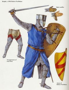 Knight with early close helm showing enarmes of a shield, mail mitten detail and mail chausses Armadura Medieval, Crusader Knight, Knight Armor, Medieval Knight, Medieval Armor, Medieval Shields, High Middle Ages, Landsknecht, Fantasy Armor