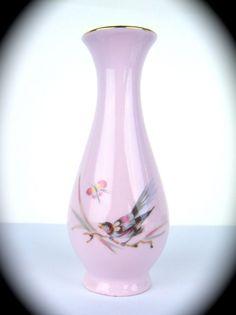 Antique Vintage Miniature Vase Pink Porcelain Czechoslovakia Bird Butterfly