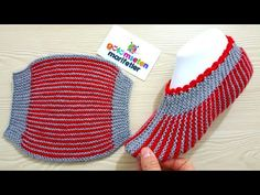 How to Make Stripes Slippers - Her Crochet Knit Slippers Free Pattern, Knitted Slippers, Crochet Slippers, Knitted Hats, Knit Crochet, Baby Hats Knitting, Knitting Socks, Striped Slippers, Knitting Patterns