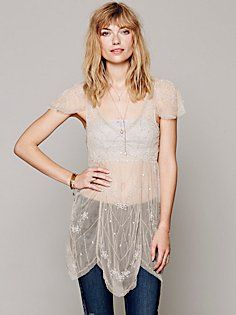 Embellished Flutter Sleeve Sheer Tunic -- OMG I need, this will be my weight loss reward if I meet my goal