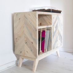 Vinyl records storage cabinet made from reclaimed solid by Emodi Record Player Cabinet, Vinyl Record Storage, Cabinet Making, Storage Solutions, Vinyl Records, Furniture Design, Inspiration, Home Decor, Woodworking