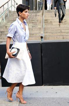 Short-sleeve button-down + white midi skirt + nude heels