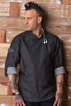 The Gramercy Chef Coat is lightweight and decked out with features like dual sleeve pockets, hidden earbud access, and a two-way zipper. The new modern fit delivers a more tailored look and feel. Waiter Uniform, Work Uniforms, Uniform Design, Fashion Project, Denim Fabric, Black Denim, Roll Up Sleeves, Work Wear, Chef Jackets